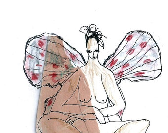 Tiny girl art, original painting, small artwork original, gallery wall art, butterfly girl, gift idea
