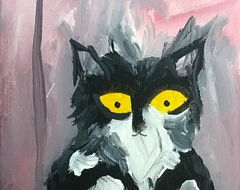 Original cat painting on canvas, One of a kind original art, original art, oneofakind, a full time cat