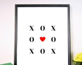 Hugs and Kisses Wall Art, XOX Printable Art, X O X, Printable Wall Art, Wall Décor, Printable Décor, Definition Art, Home Décor
