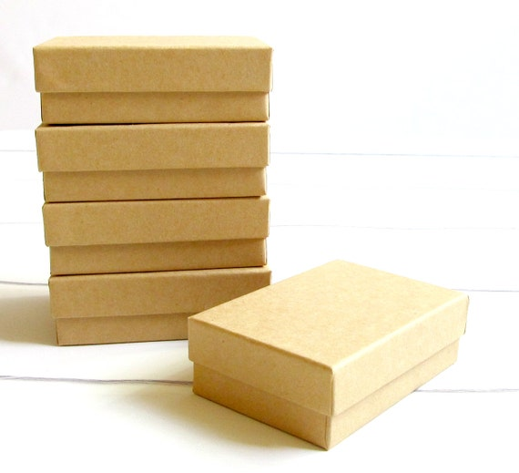 Kraft Cotton Filled Jewelry Gift Boxes 3 1 8 X 2 1 8 X 1 Etsy