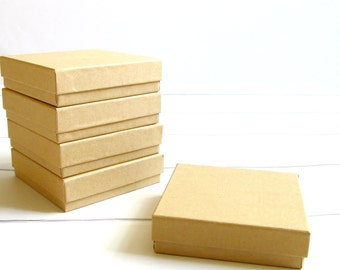 100 - Kraft Cotton Filled Jewelry Boxes - 3 1/2 x 3 1/2 x 1 inch - Great for Jewelry Packaging, Gift Boxes and Wedding Favor Boxes