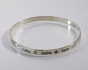 Faith Hope Love Sterling Silver Bangle