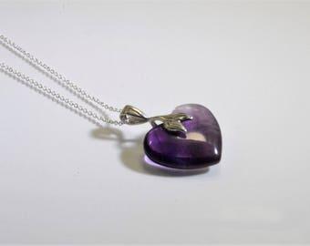 Amethyst hart hanger aan zilveren ketting-14