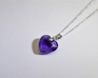 Amethyst hart hanger aan ketting in zilver -23