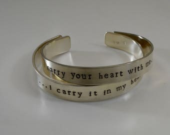 I carry your heart with me bracelet set