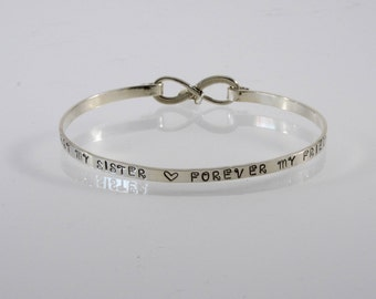 Sisters Hinged Bangle - First My Sister Forever My Friend