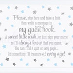 Guest Book Sign Twinkle Star 1st Birthday Guest Book Sign, Boy Baby Shower Decorations Sip and See Decor Baby Blue Silver Glitter, Printable
