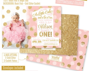 Pink And Gold First Birthday Invitation 1st Photo Card A Little Cake Lot Of Fun BIG ONE Party Invitations