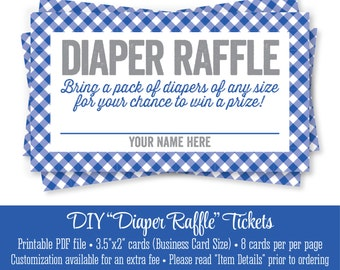 printable diaper raffle ticket blue gingham plaid baby boy shower pack of diapers game ideas invitation insert instant download
