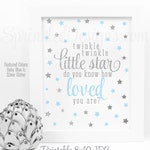 Twinkle Twinkle Little Star Baby Shower Decorations, Baby Blue Gray Silver Glitter Printable Star Birthday Boy Nursery Wall Art Decor Sign