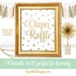 Diaper Raffle Sign for Gender Neutral Baby Shower - Mint Green Gold Glitter Printable 8x10 Sign - Girl Boy Neutral Baby Shower Decorations