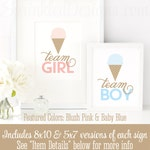 Team Boy Team Girl Printable Signs - Ice Cream Social Gender Reveal Party Decorations, Summer Baby Reveal Baby Shower, Blush Pink Baby Blue