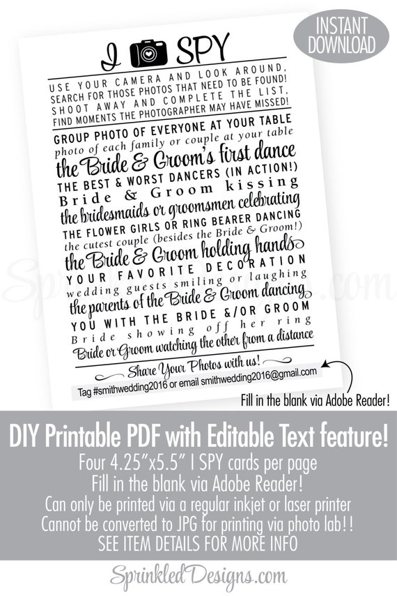 Wedding I Spy Game Printable Cards Modern Wedding Printables | Etsy