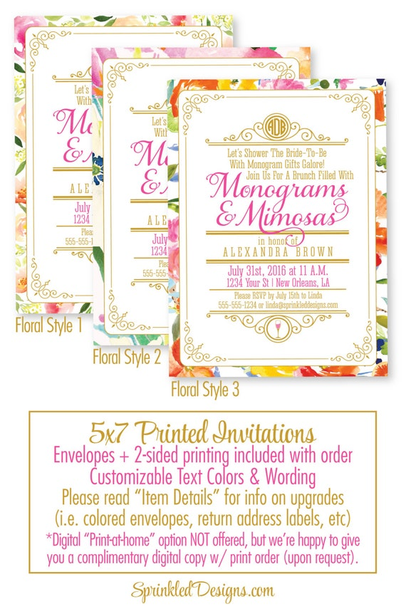 f1b17e7086d0 Monograms And Mimosas Bridal Shower Invitation - Brunch and Bubbly Bridal  Shower