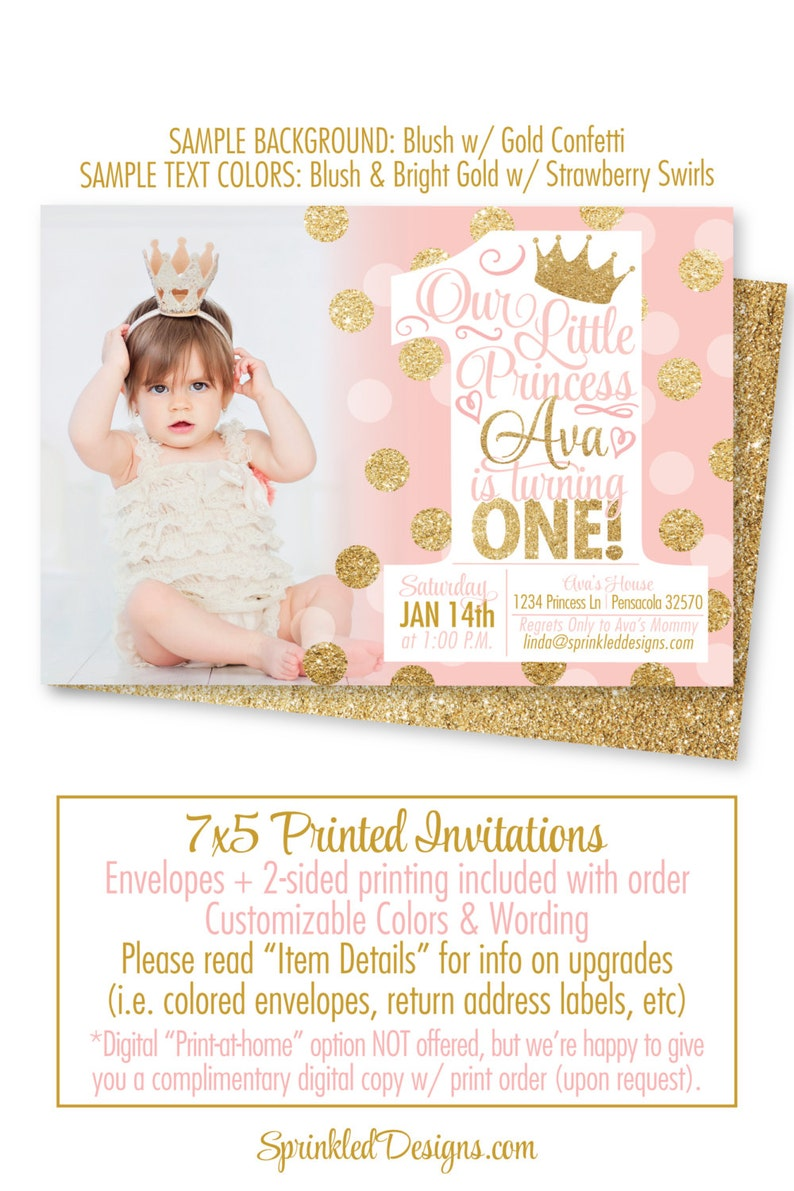 Princess Birthday Invitations Blush Pink Gold Glitter 1st