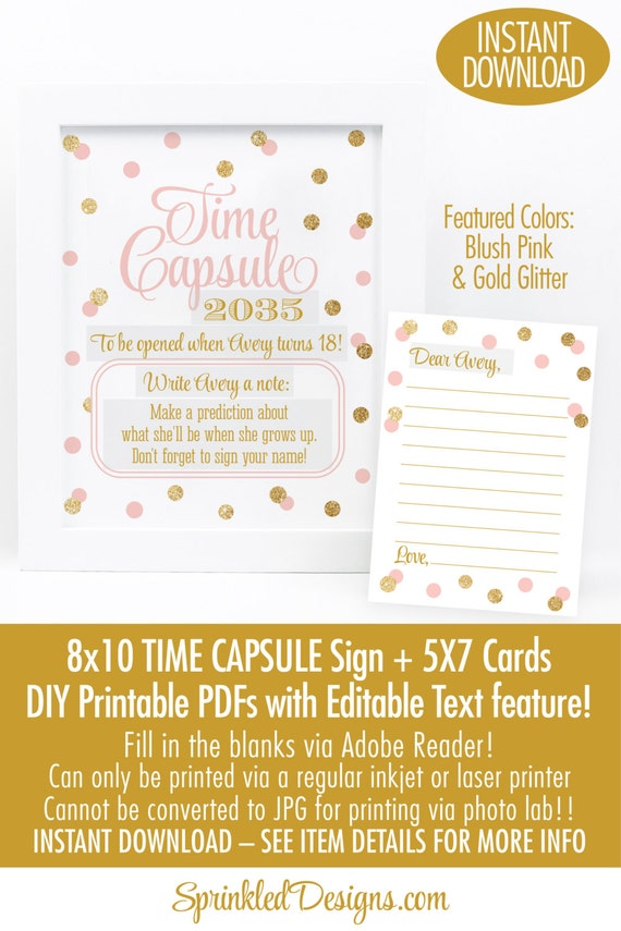 picture regarding Time Capsule Printable named Period Capsule Indication Playing cards - Blush Red Gold Glitter 1st