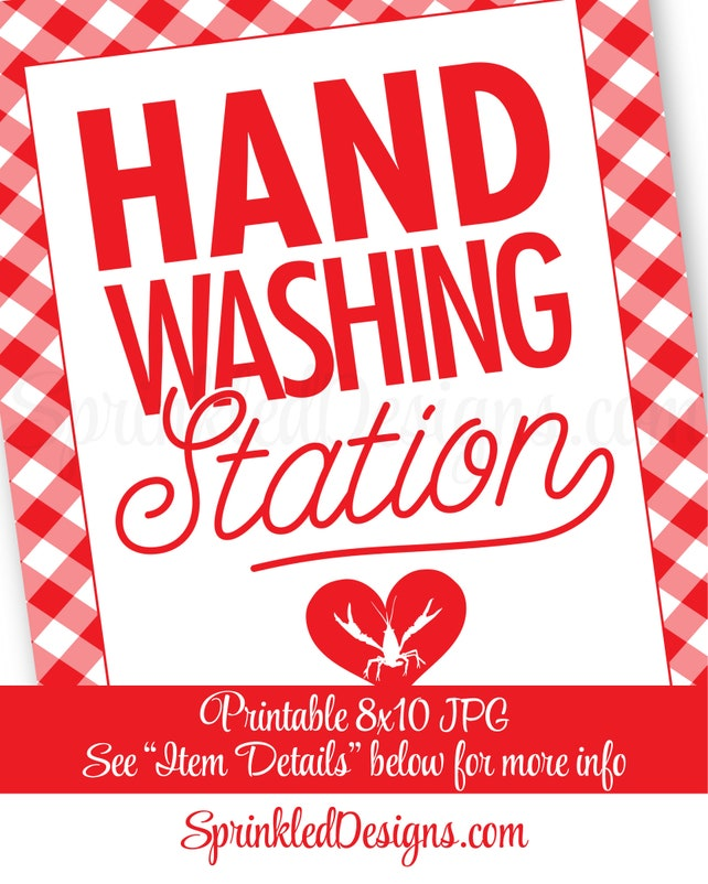 graphic about Printable Hand Washing Sign referred to as Crawfish Boil Decorations, Hand Washing Station Signal