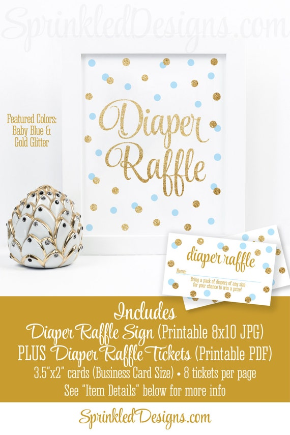 printable diaper raffle tickets sign for boy baby shower baby