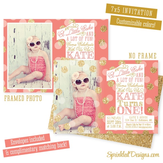 coral gold first birthday girl invitation photo card gold glitter