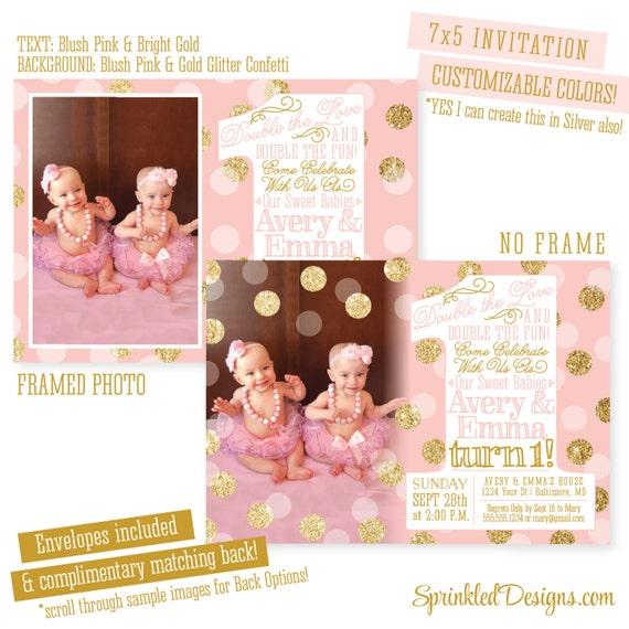 Twins first birthday invitations twin girls 1st birthday etsy image 0 filmwisefo