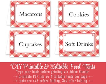 Red Checked Gingham Printable Party Food Tents - Folding Editable Buffet Food Labels Escort Place Cards - Cayenne Gingham Picnic BBQ Plaid