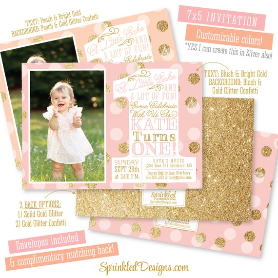 first birthday girl invitation photo card blush pink gold etsy