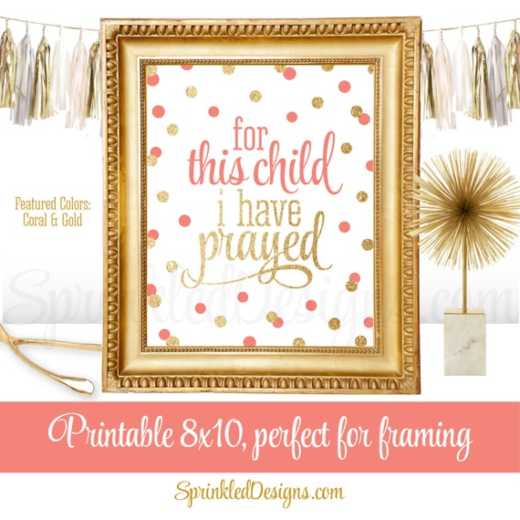 For This Child I Have Prayed Printable Baptism Sign Baby Girl