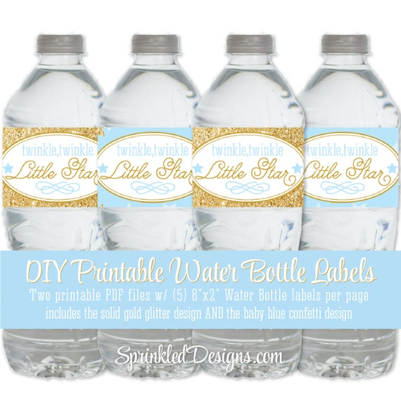 picture relating to Free Printable Water Bottle Labels for Birthday known as Twinkle Minor Star Printable Drinking water Bottle Labels - Child