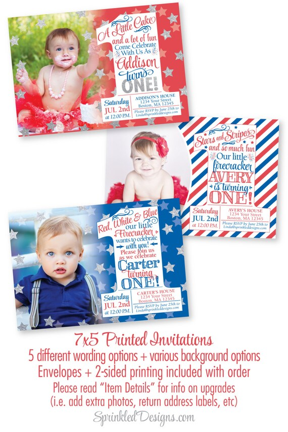 4th Of July First Birthday Invitations Little Firecracker
