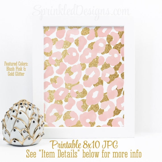 Abstract Art Print Blush Pink Gold Glitter Watercolor Leopard Print Home Decor Girls Room Decor Girl Nursery Gallery Wall Art Printable By Sprinkled Designs Catch My Party
