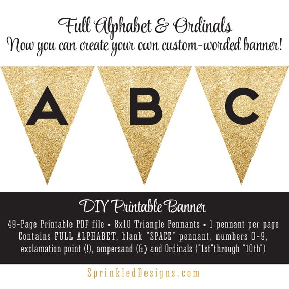 Gold Sparkly Pop Fizz Clink DIY New Year/'s Eve Banner Digital Printable Instant Download