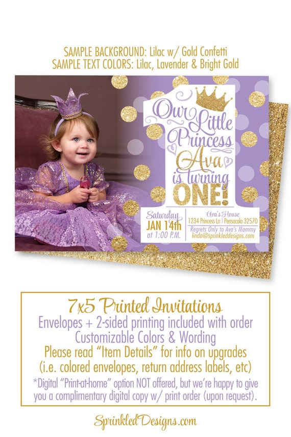 Princess first birthday girl invitations purple gold glitter etsy image 0 filmwisefo