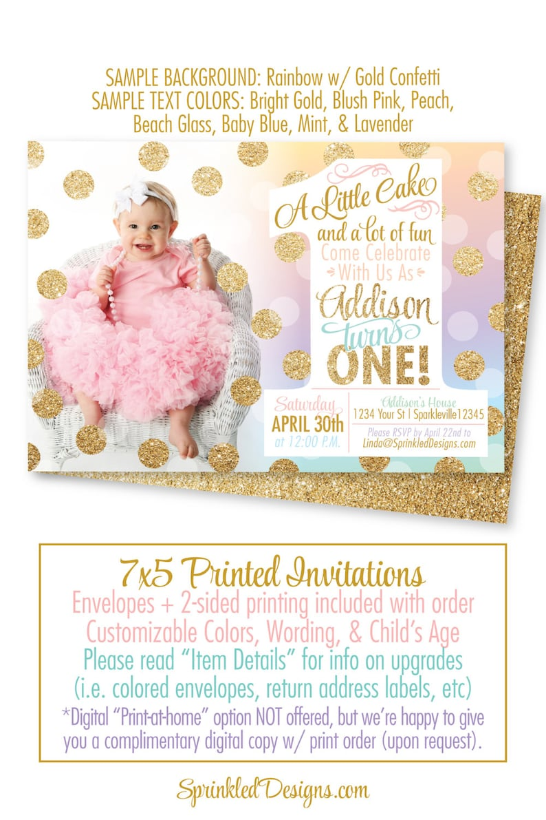 Rainbow Unicorn 1st Birthday Invitation First