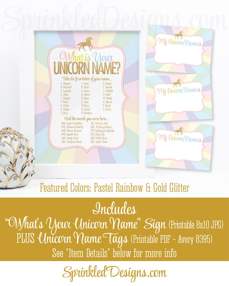 Unicorn Name Party Sign Name Tags Unicorn Name Party Game image 0