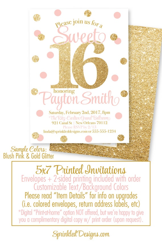 sweet 16 invitations pink and gold glitter sweet sixteen etsy