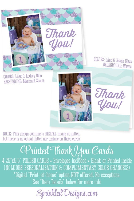 Mermaid Thank You Cards Birthday Personalized Photo Professionally Printed FOLDED 525x425