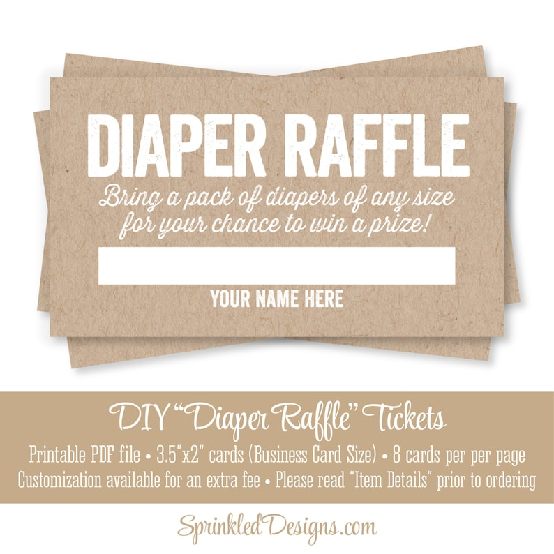 photograph regarding Printable Diaper known as Printable Diaper Raffle Tickets - Rustic Brown Kraft Paper Exciting Boy or girl Shower Recreation Recommendations - Convey A Pack of Diapers - Quick Down load