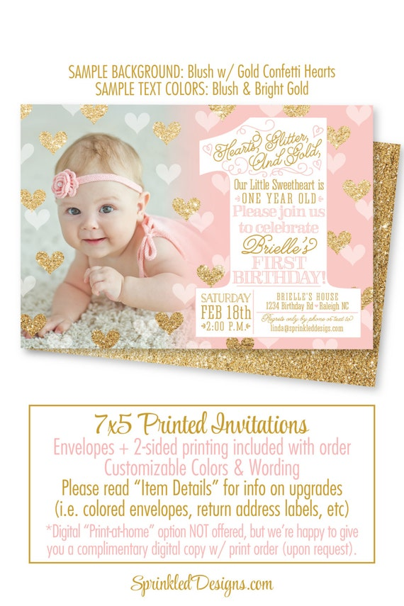 Our Little Sweetheart 1st Birthday Invitation One Year Old 1st First Birthday Photo Invites Blush Pink Gold Glitter Big One