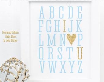 Alphabet ABC I Love You Sign - Printable Baby Boy Nursery Decor, Wall Art, Baby Shower, Birthday Decorations, Baby Blue Gold Glitter Heart