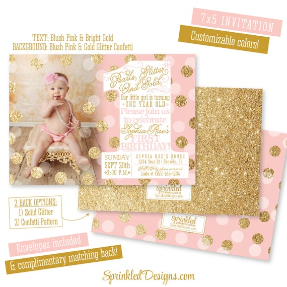 First Birthday Girl Invitation Photo Card Pearls Glitter