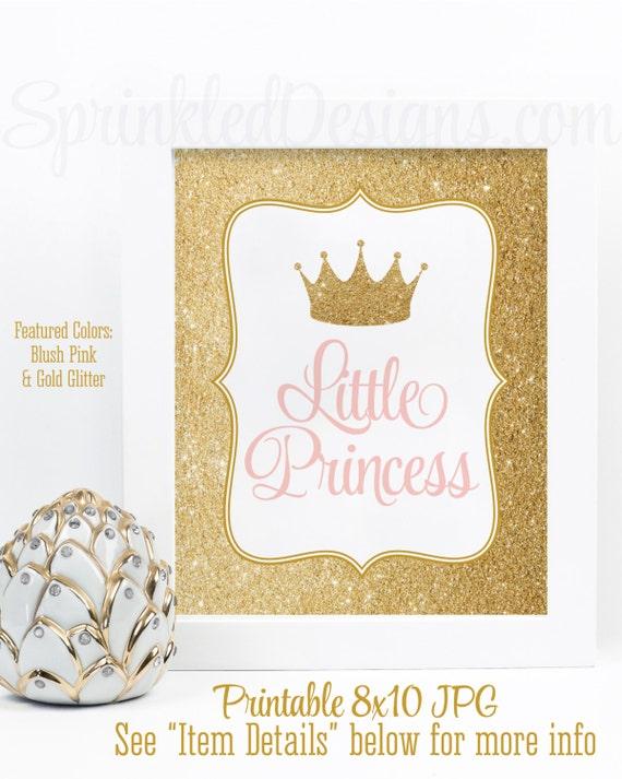 Little Princess Room Decor Birthday Decorations Girls Baby Girl Nursery Wall Art Blush Pink Gold Glitter Crown