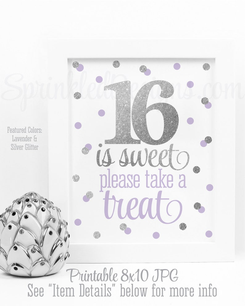16 is Sweet Take A Treat Party Favor Sign Sweet 16 image 0