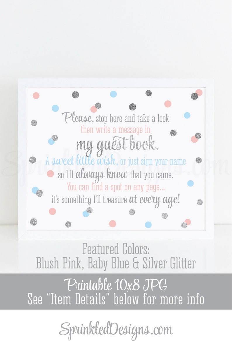 Guest Book Sign  Twin Birthday Baby Shower Sign Blush Pink image 0