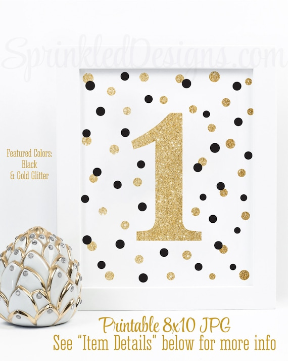 First Birthday Party Sign Big One 1 Black White Gold