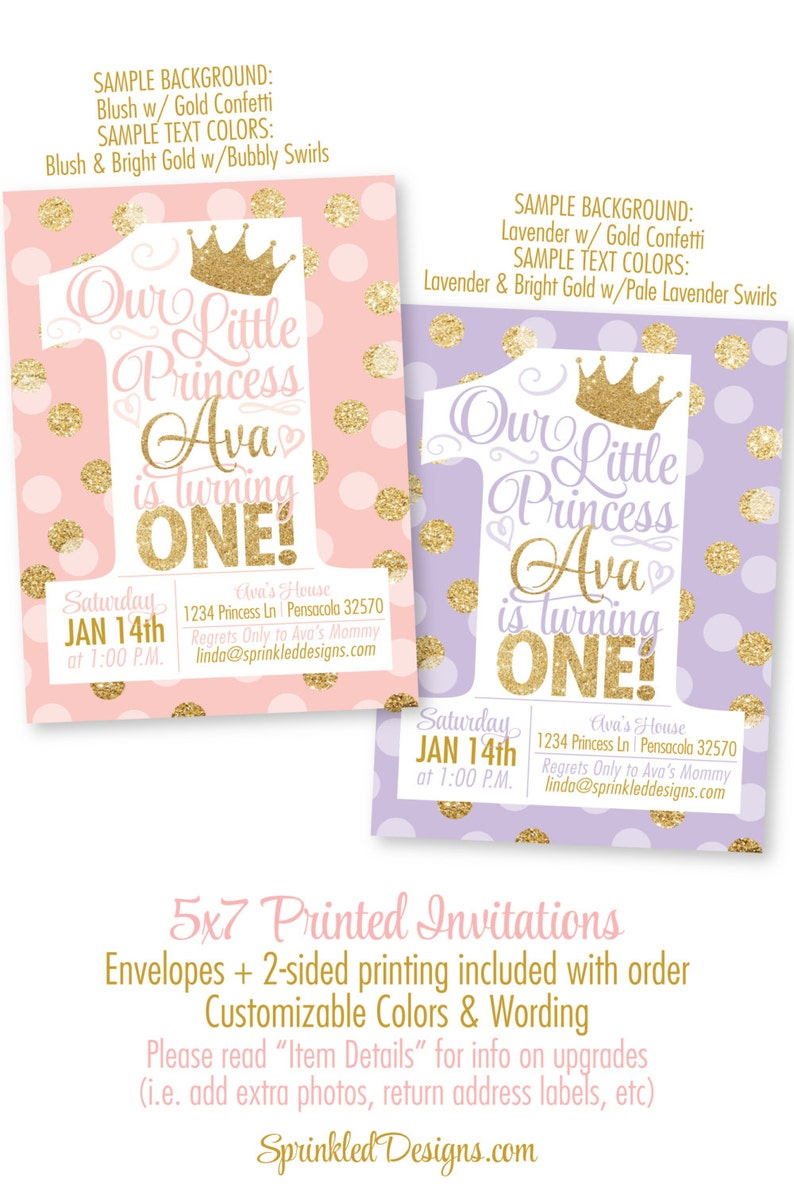 Princess Birthday Invitations Blush Pink Gold Glitter