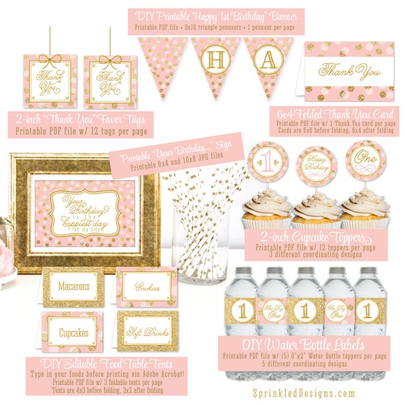 Pink And Gold First Birthday Party Decorations Girls Blush
