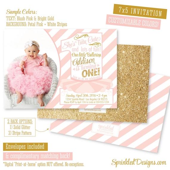 Ballerina First Birthday Invitation Photo Card