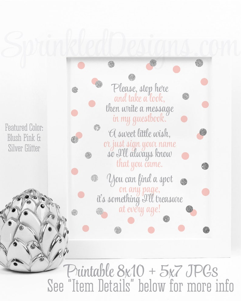 Baby Shower Guest Book Sign  Blush Pink Gray Silver Party image 0