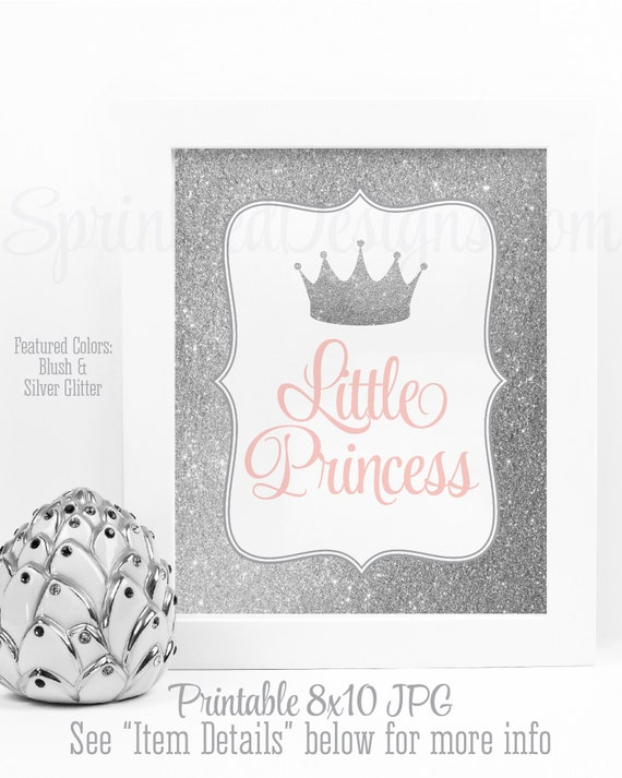 Little Princess Room Decor Birthday Decorations Girls Baby Girl Nursery Wall Art Blush Pink Silver Glitter Crown