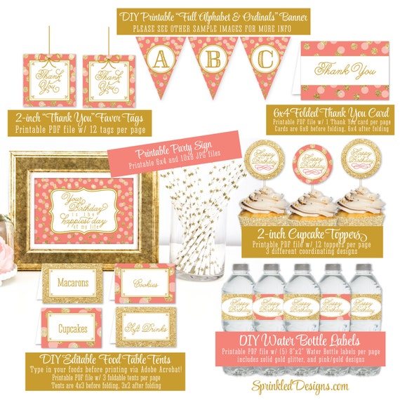 printable birthday party decorations coral gold glitter party pack